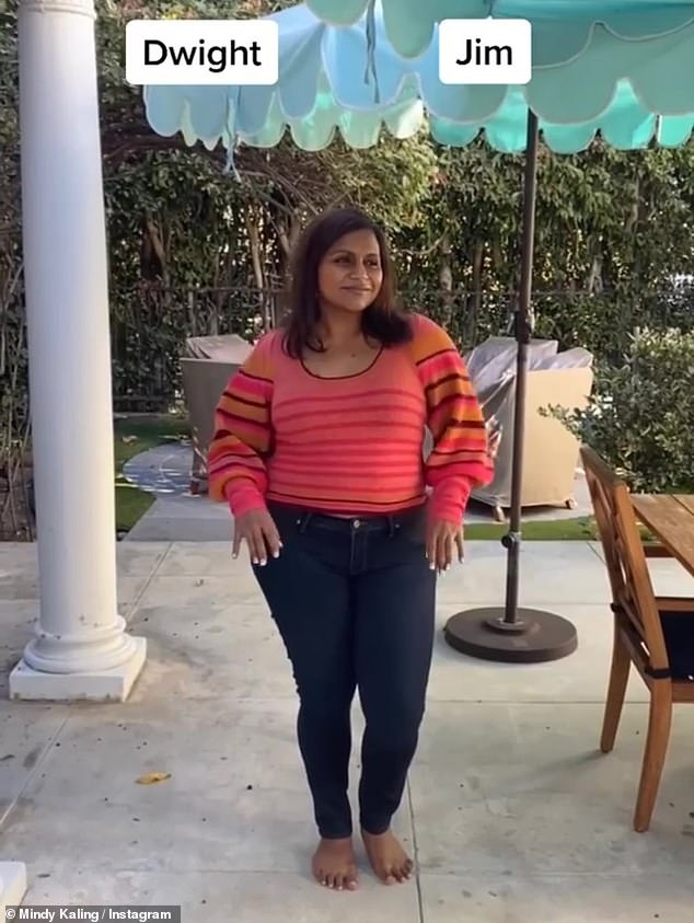 Vibrant: Mindy appears to be expecting some bright spring outfits with a coral jacket with red and orange horizontal stripes.
