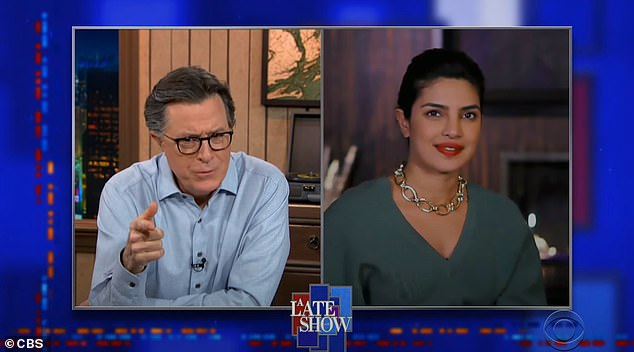 Good Conversation: The Indian-born actress who lives in Los Angeles spoke with Stephen Colbert on Thursday evening