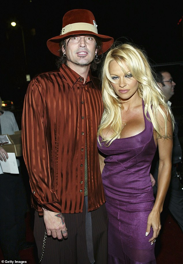 Make her heart beat! Anderson once married drummer Tommy Lee, with whom she shares two sons (pictured in 2003)