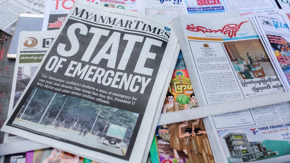 Headlines in Myanmar say that a state of emergency has been imposed in the country.