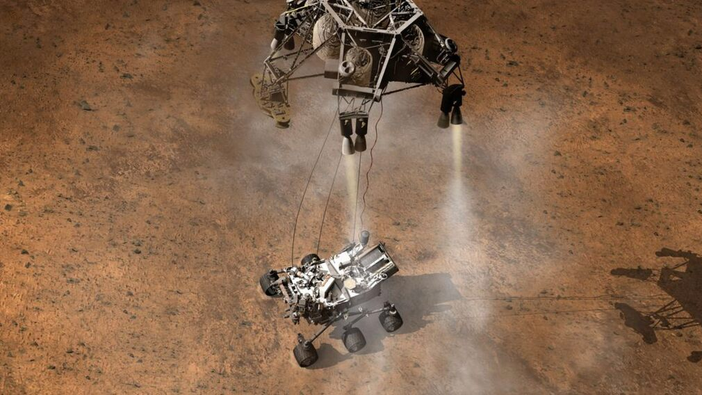This is how the rover is supposed to be placed on the surface of Mars.