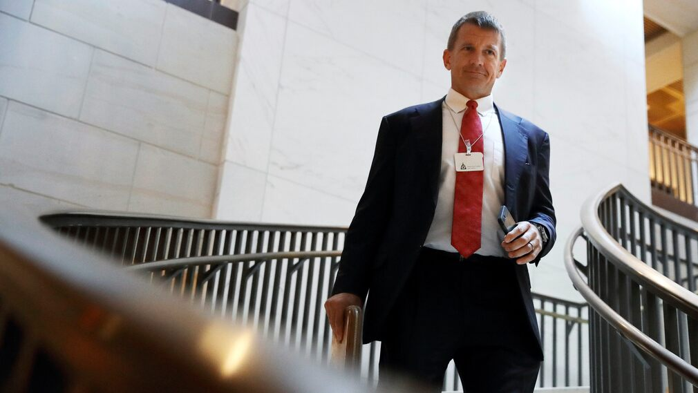 Eric Prince appeared in the so-called Mueller Inquiry, which investigated suspicions that Donald Trump's presidential campaign had links to the Russian government.  Here, Prince is on his way to a hearing at the Congressional Intelligence Committee in November 2017.