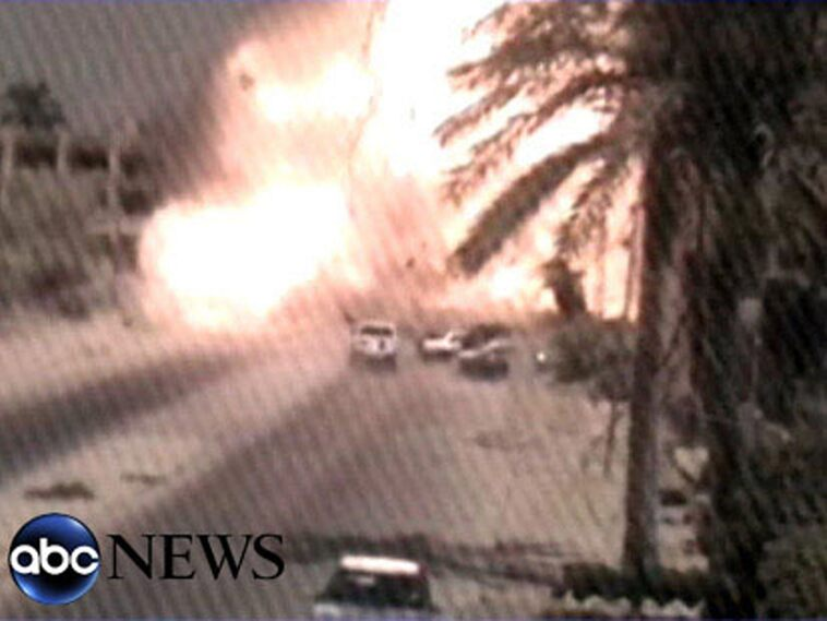 One of the few images from Black Sunday in September 2007 when a convoy of armored vehicles with Blackwater employees opened fire on civilians in Baghdad.  17 people were killed, including women and children.